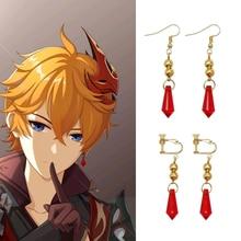 Anime Genshin Impact Tartaglia Earrings Cartoon Figure Cosplay Genshin Childe Earring Fashion Jewelry Accessories Gift