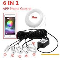 6 in 1 8M Sound Active EL Neon Strip Light RGB LED Car Interior Light Multicolor Bluetooth Phone Control Atmosphere Light 12V