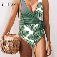 CPUTAN 2019 Sexy Women Floral Border Padded Swimsuits Ruffle Push up Swimwear Black Plus size One piece Thong Swimming Suit