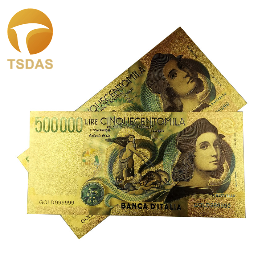 Colored Italy 500,000 Lire Gold Banknote Plated With Normal Pure Gold For Collection 24k Gold Banknote