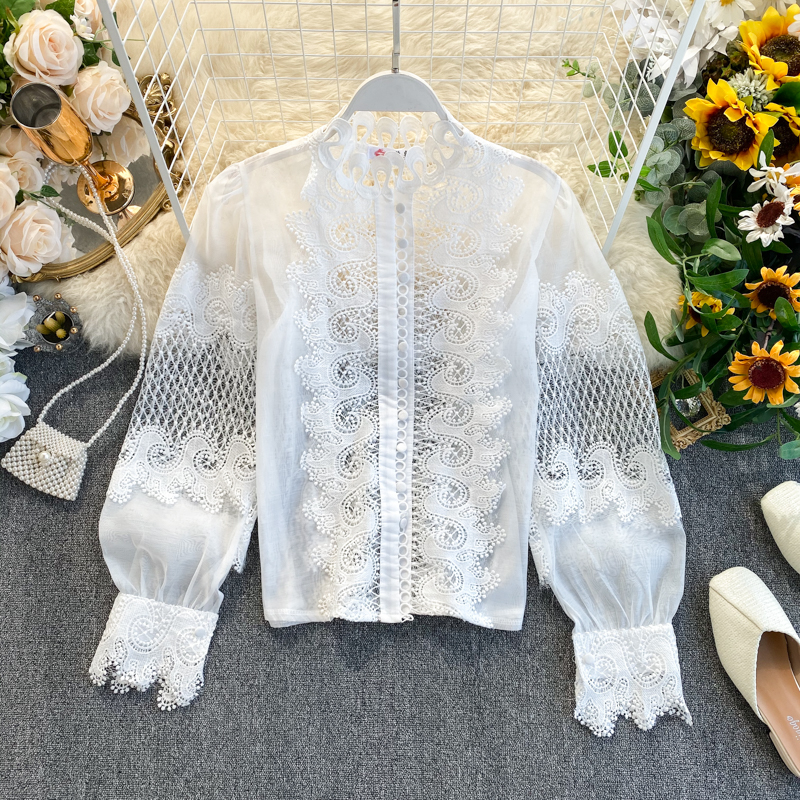 White Black Long Lantern Sleeve Lace Hollow Out Stand Collar Blouse Shirt 1