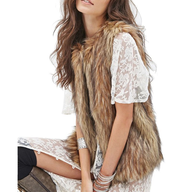 Plus Size Women Ladies Winter Warm Solid Color Faux Fur Sleeveless Covered Button Vest Jacket Waistcoat Outwear Coat