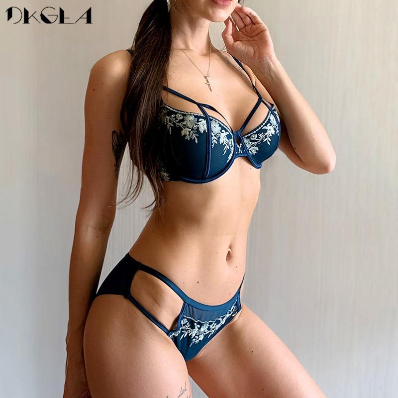 Black Sexy Bra Set Ultrathin Brassiere Transparent Underwear Set Lace Hollow Bras Plus Size B C D Cup Women Lingerie Embroidery
