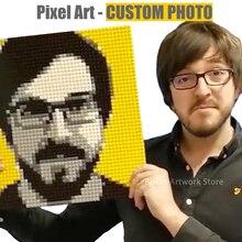 Pixel Art MOC zestaw mozaika niestandardowe zdjęcie ręcznie malowany obrazek według numeru prywatny niestandardowy projekt klocki 50x50 szpilki kreatywny prezent