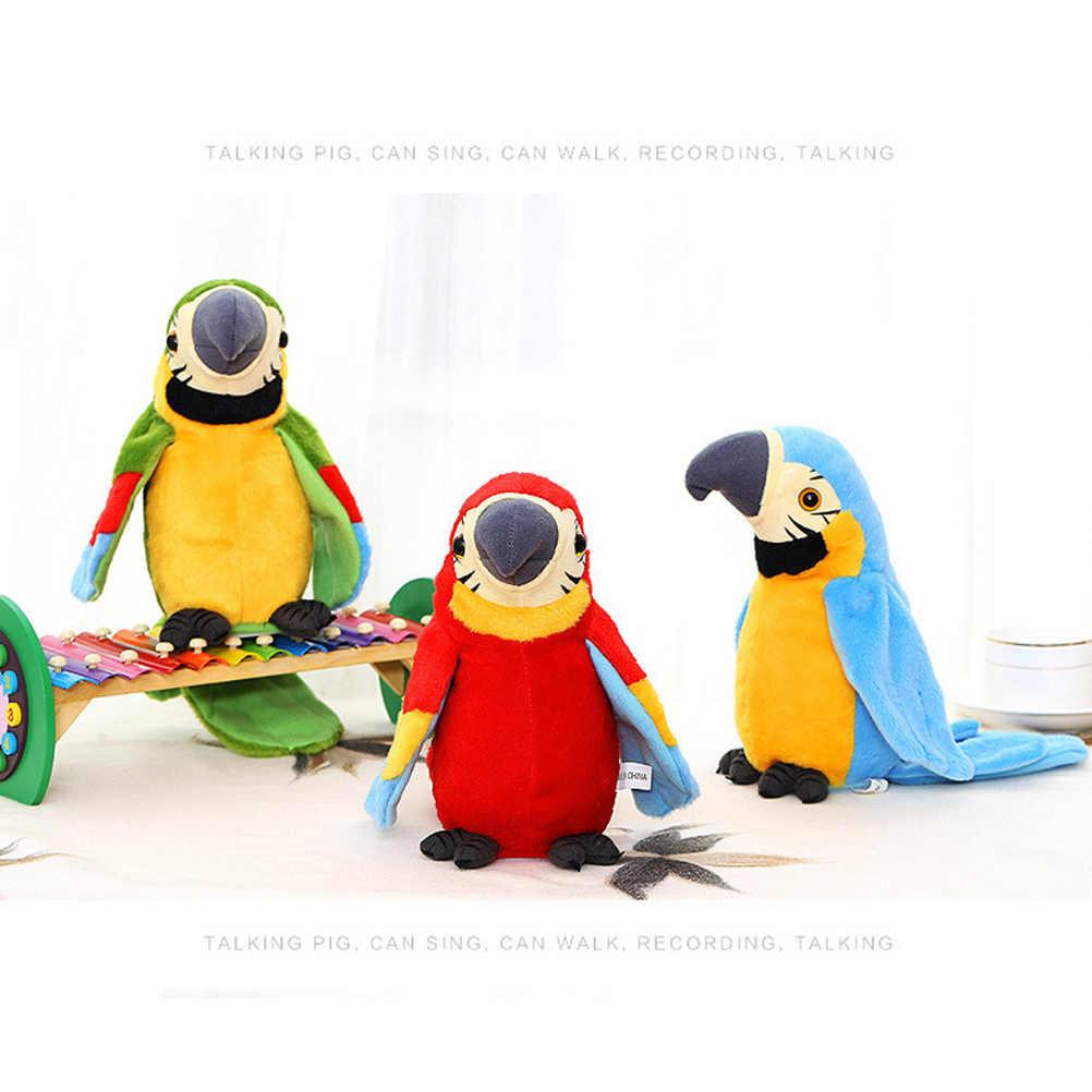 Sevimli konuşan papağan oyuncak elektrik konuşan papağan doldurulmuş peluş oyuncak kuş söylediklerinizi tekrarlayın çocuk çocuk bebek doğum günü hediyeleri