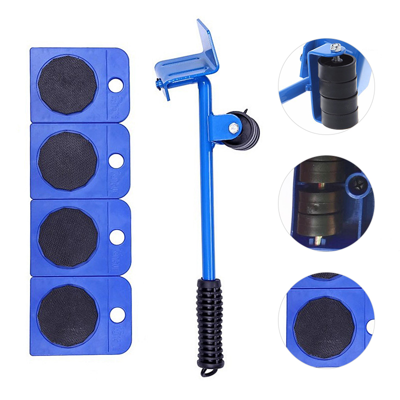 2020 New 5Pcs Professional Furniture Transport Lifter Tool Set Heavy Stuffs Moving Hand Tools Set Wheel Bar Mover Device
