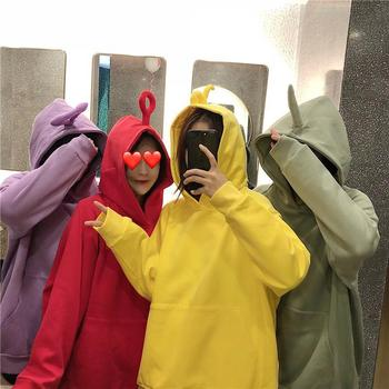 Yfashion Women Cute Teletubby Design Sweatshirt Hoodies Loose solid Color Pullover Casual All-match Top
