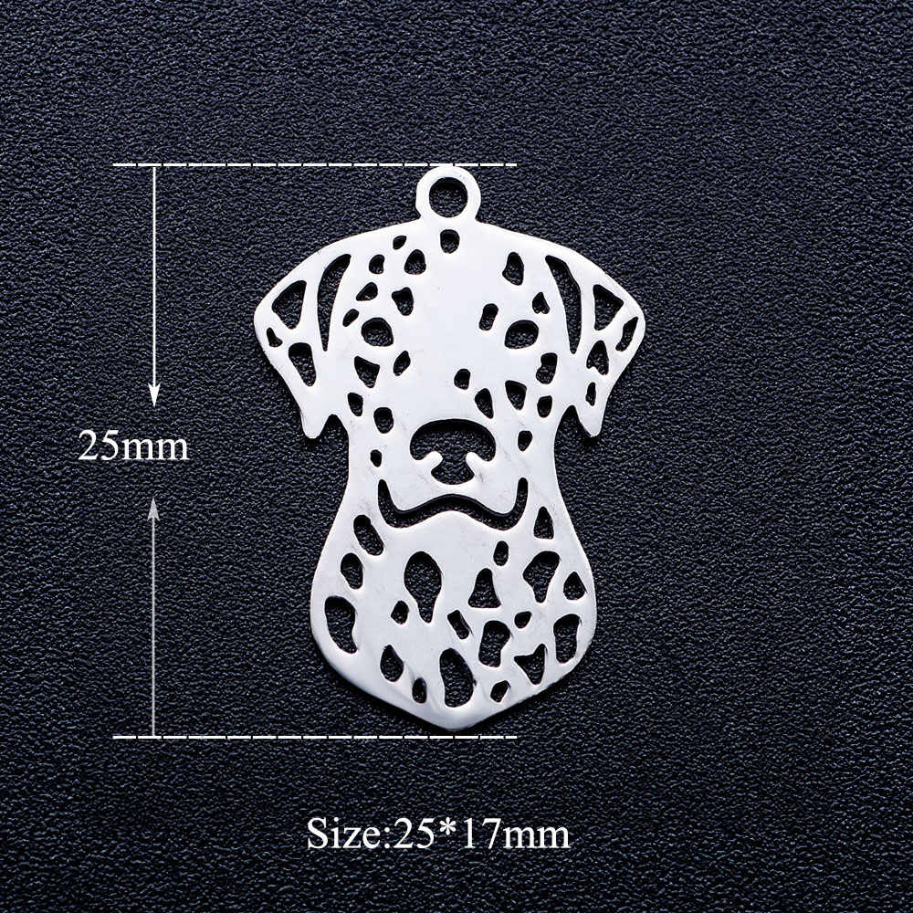 10pcs/lot Cute Dog DIY Jewelry Charms Wholesale 100% Stainless Steel Charm for Necklace Making Never Tarnish Pendants