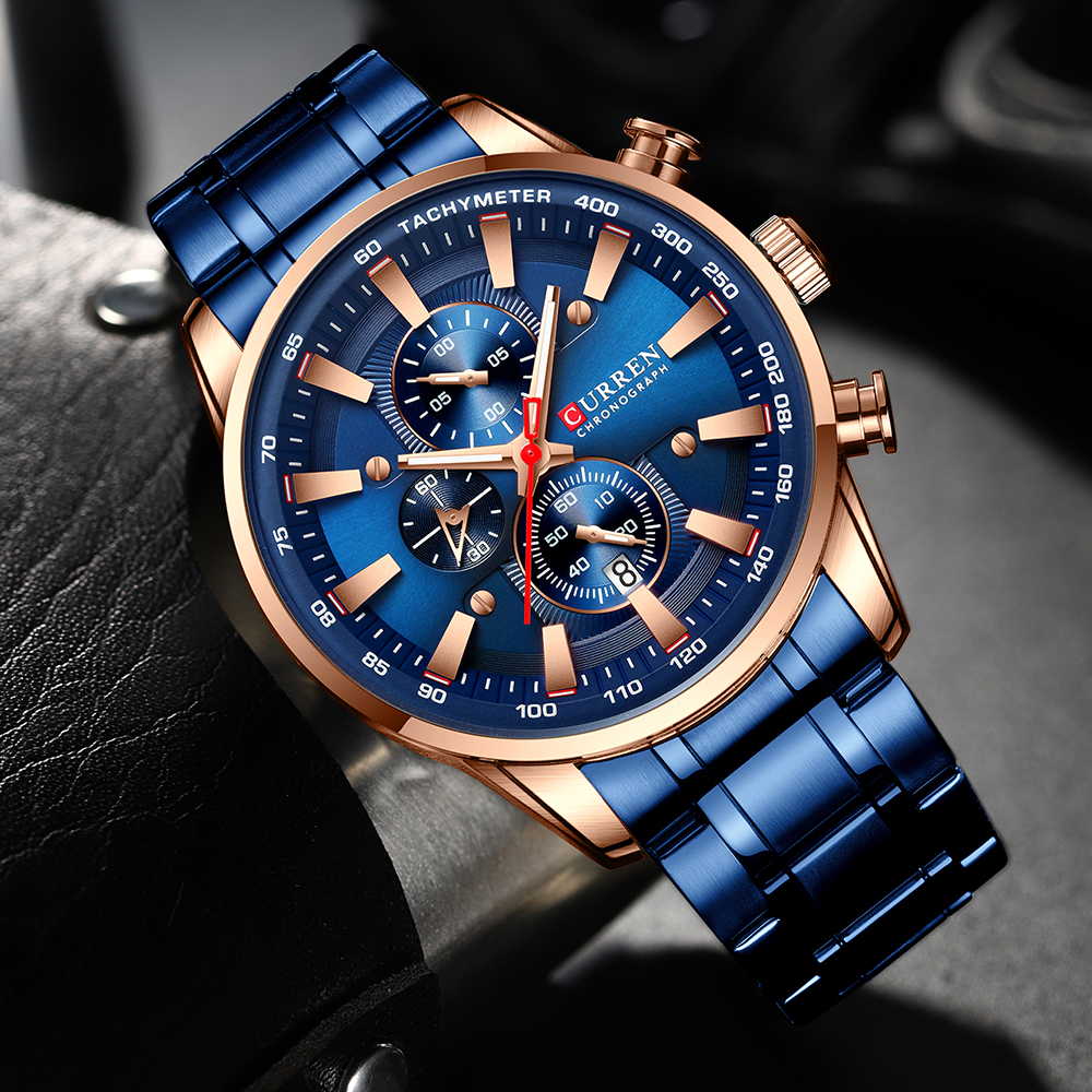 New Chronograph Quartz Men's Watch CURREN Stainless Steel Date Wristwatch Clock Male Luminous Watches Relogio Masculino