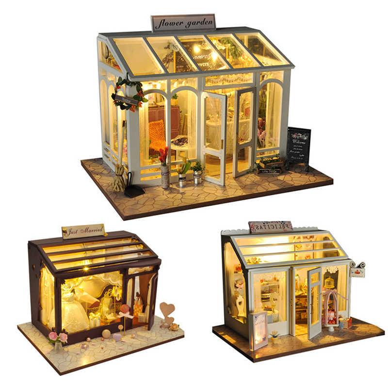 Roombox FAI DA TE Casa Delle Bambole Con Mobili In Legno Casa In Miniatura Edifici Modelli Giocattoli Per I Bambini Di Compleanno Regali Di Natale