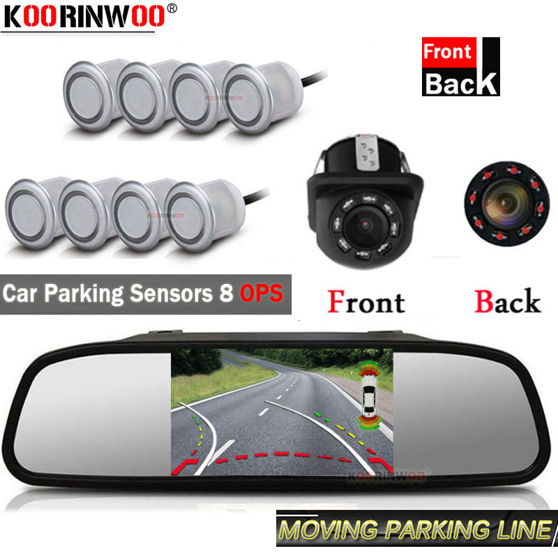 Koorinwoo Core Dual HD Car Video Parking Sensors OPS 8 Parktronik Dynamic Trajectory Parking Camera With Car Monitor Colorful|Parking Sensors| |  - title=