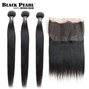 Image 2 - שחור פנינה מראש בצבע 360 חזיתי תחרה עם חבילות 3/4 יח\חבילה ישר שיער טבעי חבילות עם סגר ללא  רמי שיער Weave