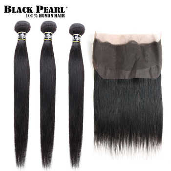 Black Pearl Pre-Colored 360 Lace Frontal with Bundles 4Pcs/lot Straight Human Hair Bundles with Closure Non-Remy Hair Weave - DISCOUNT ITEM  49% OFF All Category