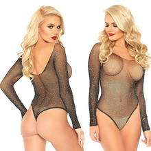 2020 Wanita Mesh Jaring Ikan Slim Baju Payet Leotard Top Panjang Lengan Mesh See-Through Playsuit Wanita Jumpsuit(China)