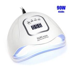 Image 1 - 네일 건조기 SUNX 5 최대 90/72/54/36W 45/36 LED UV LED 네일 램프 자외선 젤 치료를위한 태양 빛 센서 LCD 디스플레이와 매니큐어