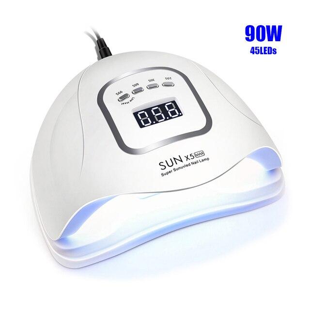 네일 건조기 SUNX 5 최대 90/72/54/36W 45/36 LED UV LED 네일 램프 자외선 젤 치료를위한 태양 빛 센서 LCD 디스플레이와 매니큐어