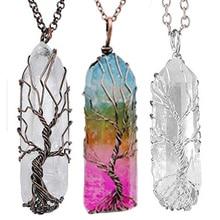 7 ЧАКРА КРИСТАЛЛ натуральный/Радужный камень кварц Древо жизни кулон ожерелье для женщин мужчин маятник для исцеления чакр с помощью рейки ювелирные изделия