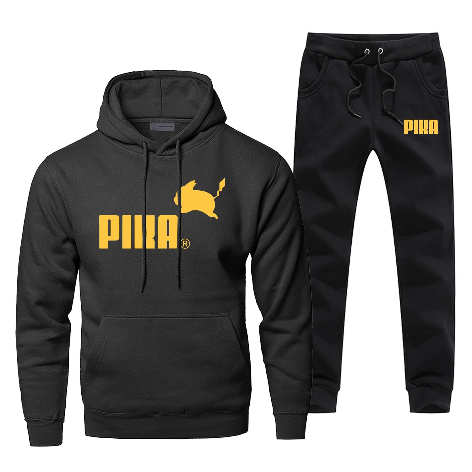 Pika Men Hoodie Male Pants Set Pikachu Sweatshirt Mens Japan Anime Hoodies Sweatshirts Sets Two Piece Pant Pullover 2Pcs Coat