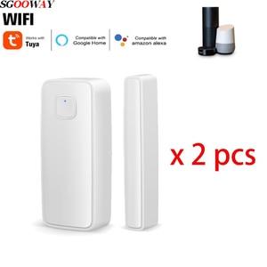 Sgooway Tuya Wifi Door Window Sensor Detector Alarm Smart life Compatible With Alexa Google Home
