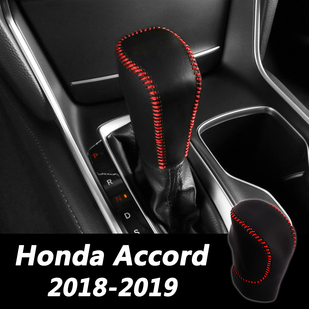 Car Hand Sewing Leather Gear Cover Car Gear Shift Knob Protective Cover For <font><b>Honda</b></font> <font><b>Accord</b></font> 10 10th <font><b>2018</b></font> 2019 <font><b>Accessories</b></font> image