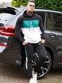 Neue Marke 2 Stück Sets Trainingsanzug Männer Frühling Mode Mit Kapuze Sweatshirt + Kordelzug Hosen Männlichen Streifen Patchwork Hoodies Bigsweety