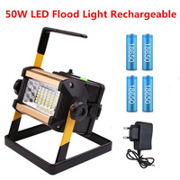 Reflector LED de 50W, reflectores de luz LED portátil para exteriores, lámpara de Construcción + baterías 18650
