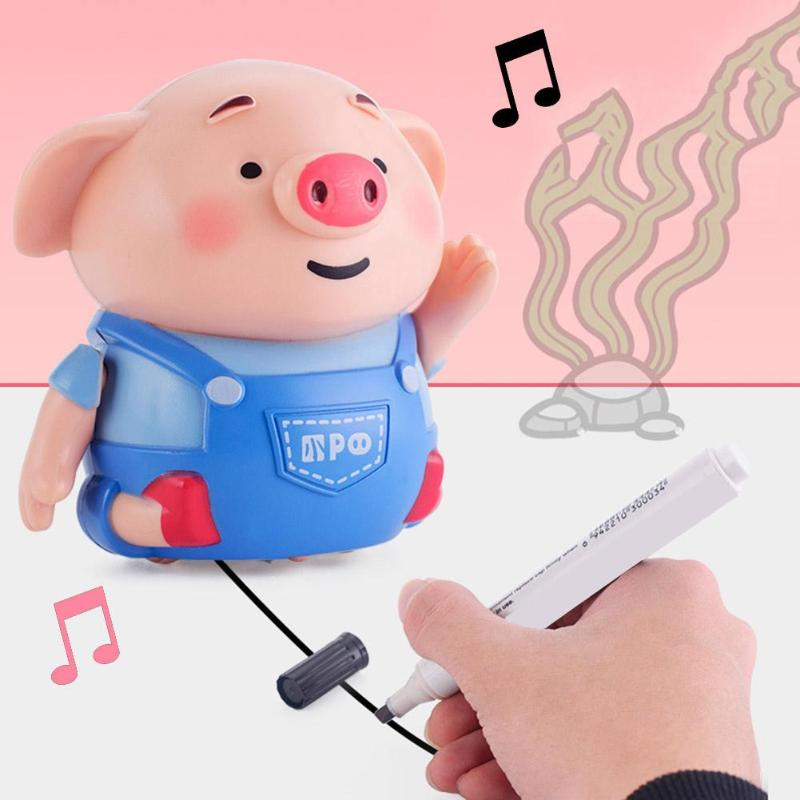 Cute Pig Robot Inductive Road Line Drawing Toys With Light Music Education Toy Standard Of Articulation Pronunciation