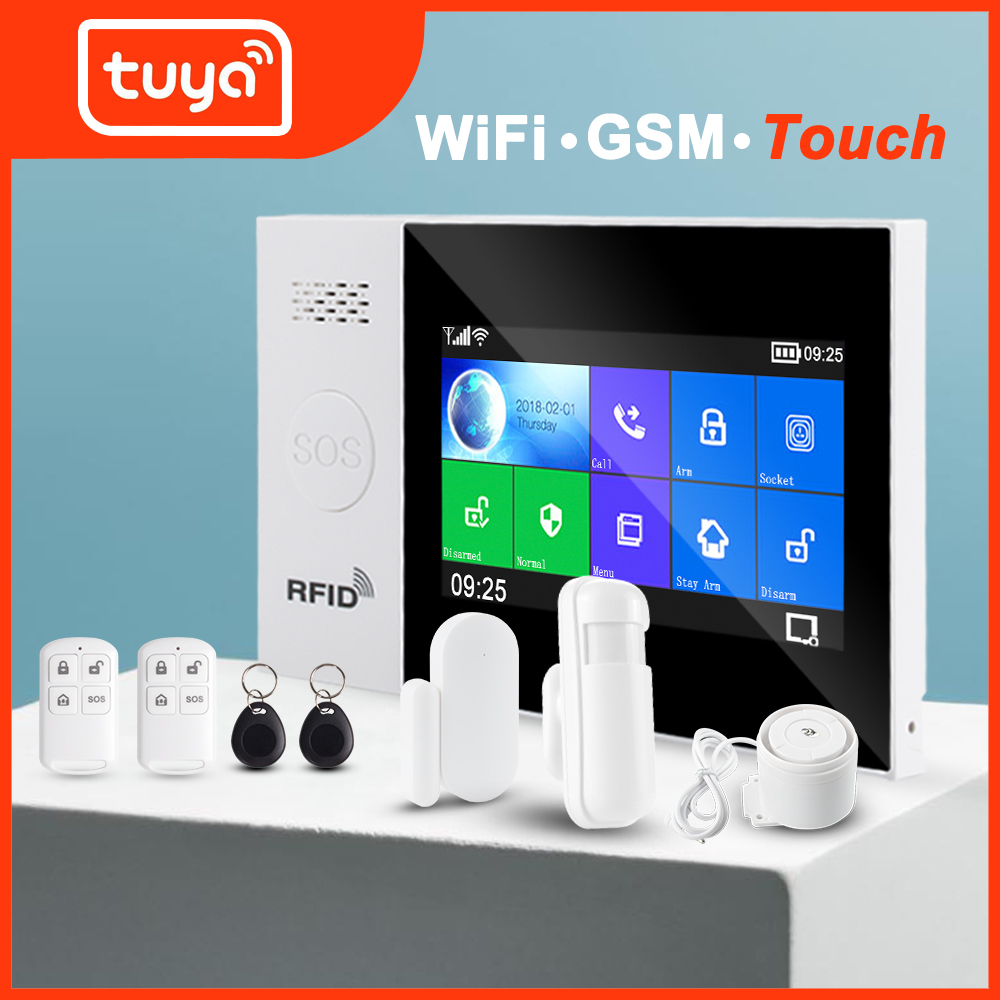 Tuya WIFI GSM home Security smart Alarm System Burglar kit touch screen Tuya APP Remote Control RFID Arm Disarm title=