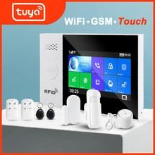 Tuya wi fi gsm proteção de segurança em casa sistema de alarme inteligente tela toque kit assaltante controle remoto aplicativo móvel rfid braço e desarmar