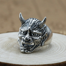 925 sterling silver Jewelry Punk Rock Vintage Skull Opening Ring Gift Hiphop Men Adjustable Ring new retro punk skull ring rock car crack halloween men and women personality ring jewelry gift