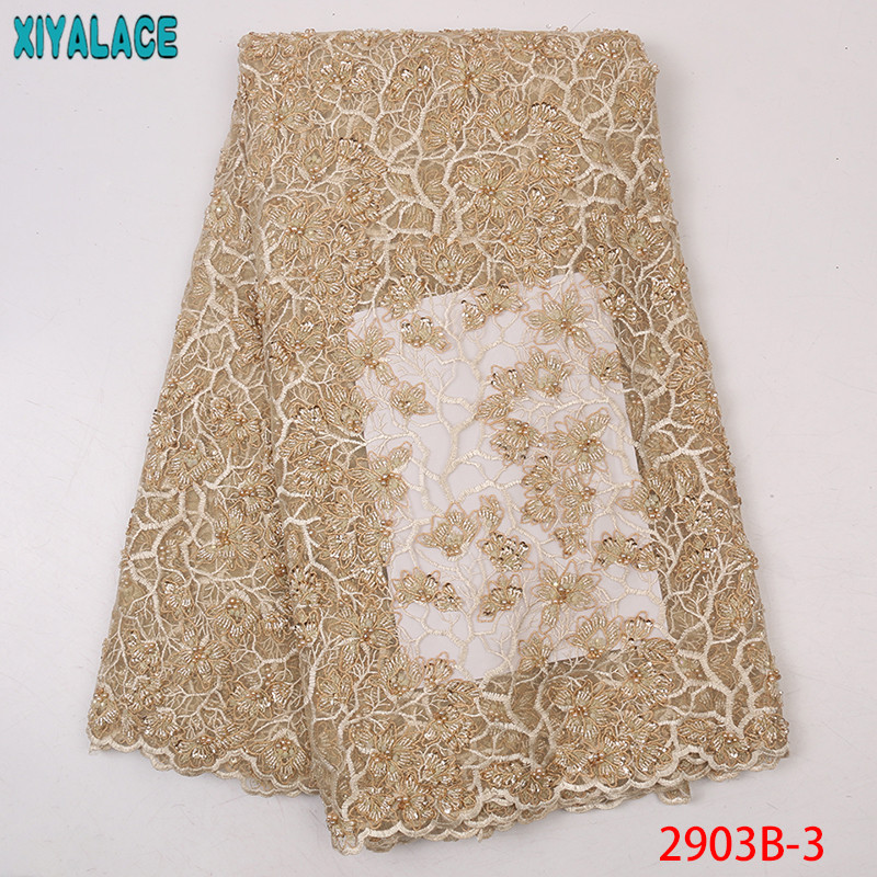 African Lace Fabric 2019 High Quality Lace Beaded Tulle Laces French Embroidered Net With Beads KS2903B-3