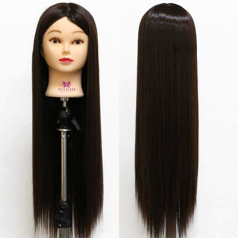"Hairdresser Training Mannequin Head Hairstyles Braiding 26"" Black brown Matt Long Hair Hairdressing Dummy Doll Practice Heads"