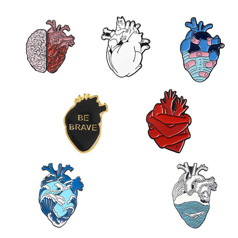 7 Pcs Jantung Pin Gelombang Laut Perban Hati Berani Enamel Bros untuk Wanita Pria Punk Kerah Pin Lencana Organ anatomi Perhiasan Hadiah
