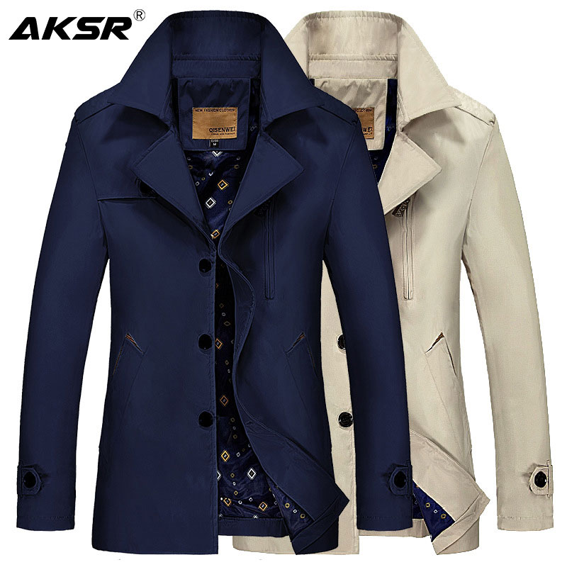 AKSR 2019 Autumn Classical Men's Windbreakers Long Jacket Coats Men Trench Coat Men Long Coat Casaco Longo Casacas Para Hombre
