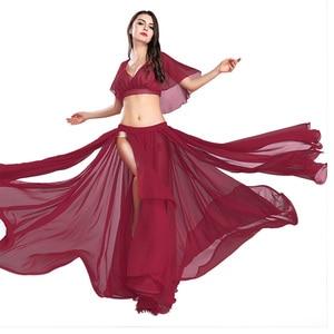 Image 1 - Gorąca sprzedaż kobiet seksowny zestaw do tańca brzucha taniec brzucha ubrania moda dziewczyny szyfonowa bellydance Top spódnice praktyka nosić