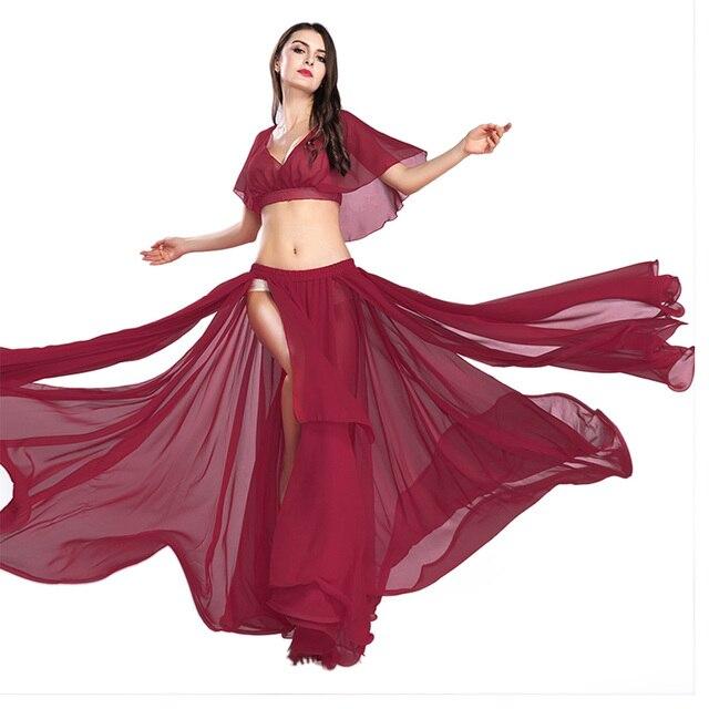 Gorąca sprzedaż kobiet seksowny zestaw do tańca brzucha taniec brzucha ubrania moda dziewczyny szyfonowa bellydance Top spódnice praktyka nosić