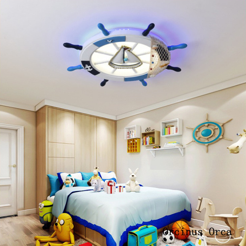 Mediterranean Blue Sailing Roof Lights Boy's Bedroom Children's Room Lights Cartoon Creative Ship Rudder Suction Roof Lights
