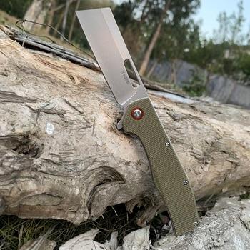 TUNAFIRE D2 steel tactical folding knife High-end linen handle ball bearing camping self-defense pocket hunting peeling tools 1