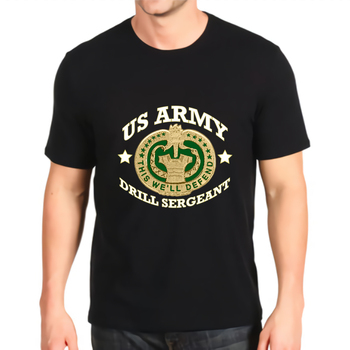 t-shirt o-neck print new army drill sergeant badge shield tee sweat  Cotton Top mens custom made short-sleeved Fashion