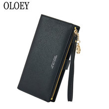 OLOEY, новинка, Большой Вместительный клатч с перекрестным узором, модная сумка для мобильного телефона с отделением для карт, Женская длинная сумка из искусственной кожи в Корейском стиле