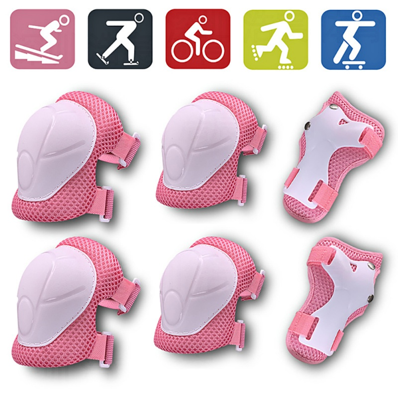 FLORE 6 In 1 Kids Protective Gear Knee Pads And Elbow Pads Set With Wrist Guard And Adjustable Strap For Cycling Skateboarding
