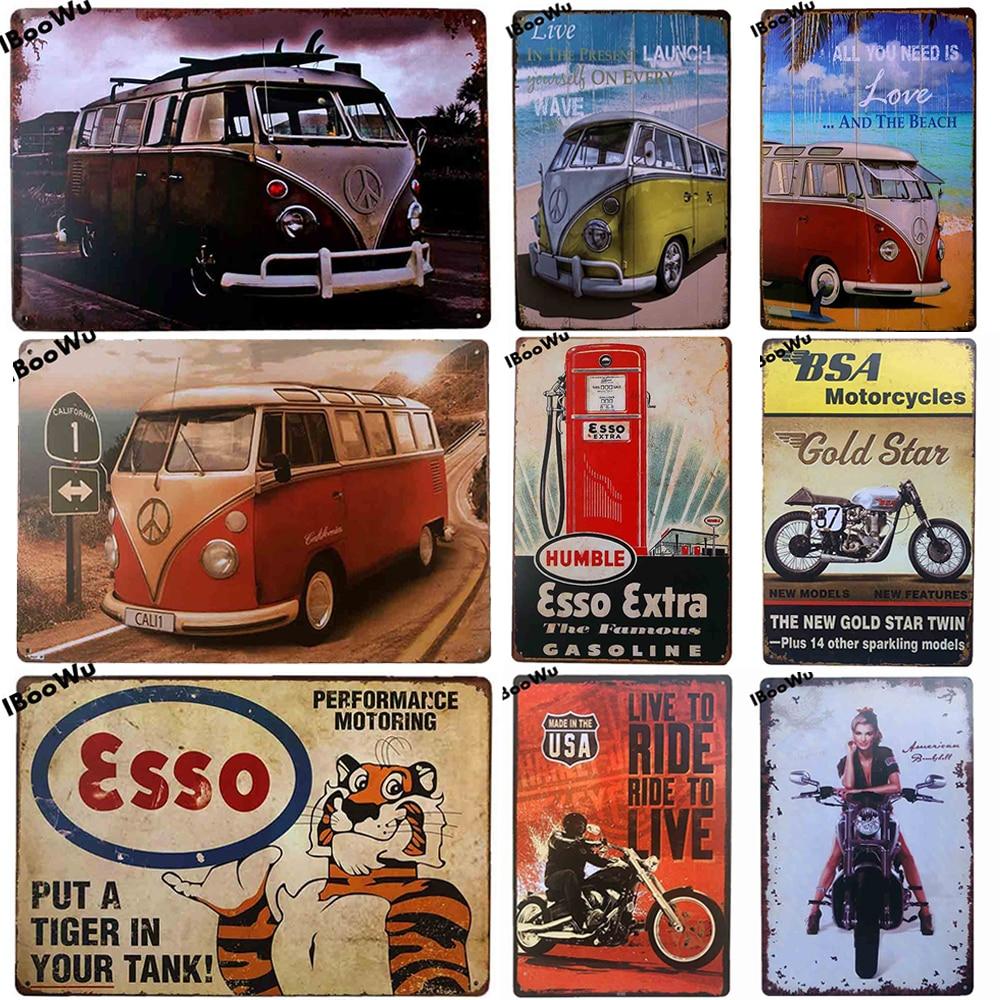 1 шт. мотоциклетные плакат Винтаж автобус Ретро металлическая банка доска пластины со знаками пивной бар гараж домашний Декор стены 20x30cm