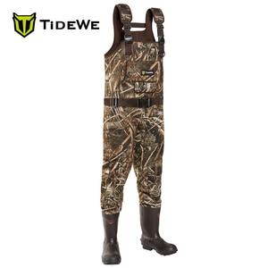 Image 1 - TideWe الصيد الصيد بدلات واقية للصدر للرجال النساء Realtree MAX5 كامو مع 600G العزل مقاوم للماء Cleated النيوبرين bootfeet