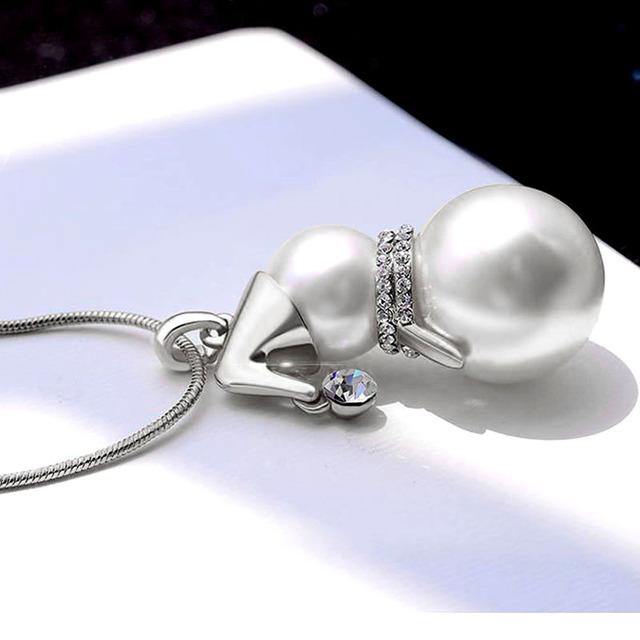 SINLEERY lindo muñeco de nieve colgante collar largo para mujeres Color oro imitación perla joyería Santa Claus regalos de navidad MY386 SSI