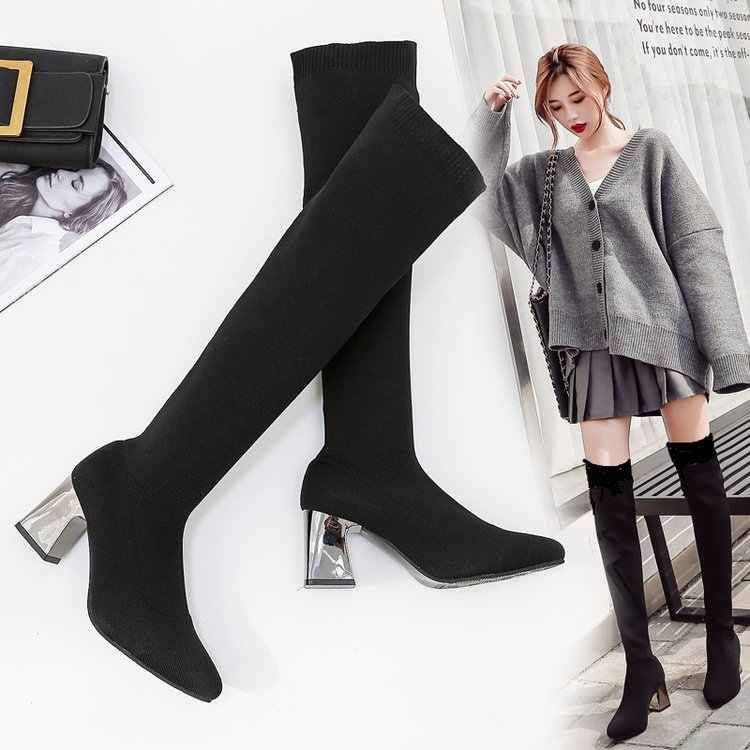 Пикантные Сапоги выше колена женские зимние сапоги 2019 г. Сохраняющие тепло эластичные носки высокие сапоги до колена с острым носком женская обувь