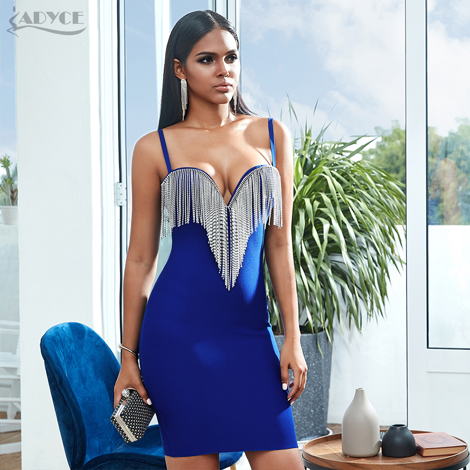 ADYCE 2020 New Summer Tassels Spaghetti Strap Bodycon Club Bandage Dress Sexy Sleeveless Celebrity Evening Runway Party Dresses