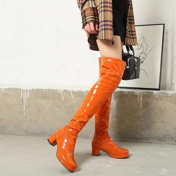 Nowe zimowe seksowne długie buty damskie 2021 skórzane buty do kolan moda kobieta buty na obcasie buty kobiece Sexy białe pomarańczowe buty tanie i dobre opinie LZXGSJ Plac heel Podstawowe CN (pochodzenie) Over-the-knee zipper Stałe 8811 Krótki pluszowe Okrągły nosek Zima RUBBER