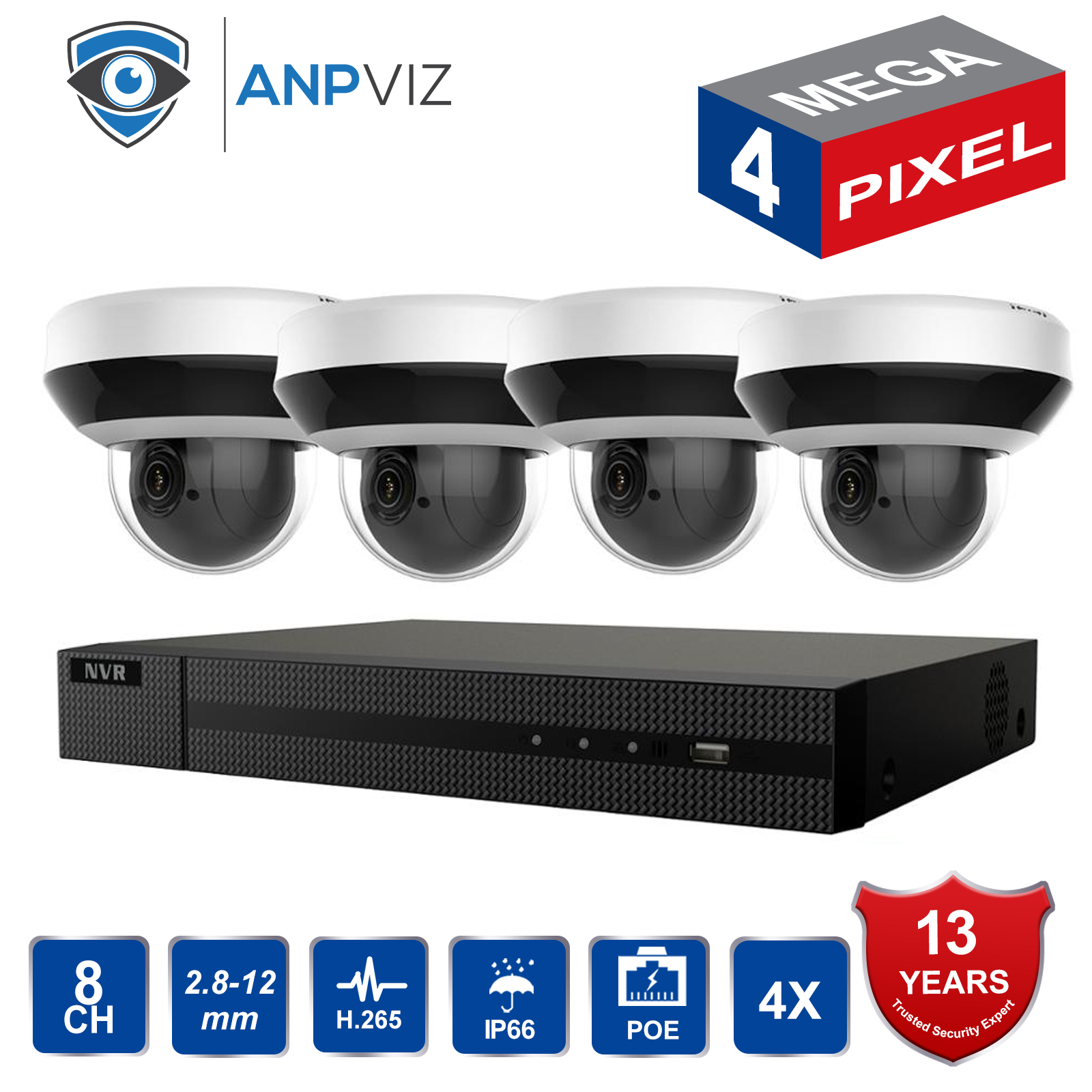 In Stock Hikvision H.265 8CH POE NVR KIT Outdoor CCTV Security System 4MP 4X Zoom PTZ IP Camera P2P Video Surveillance Set image