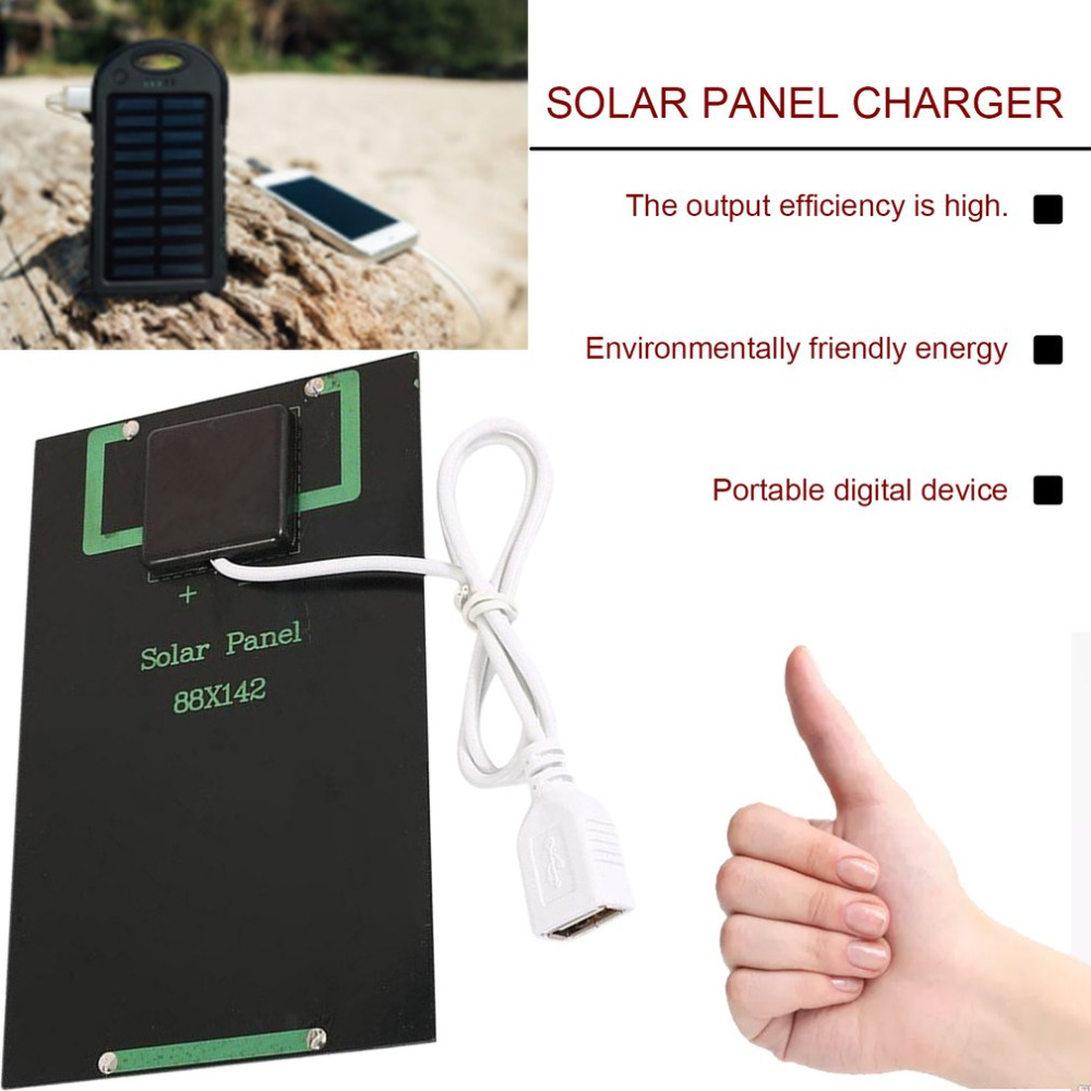 New 5W 5V Solar Panel Battery Charger DIY Solar Module with USB Port Portable Outdoor Solar Charging Board for Mobile Phones