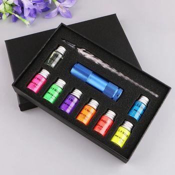 10 sztuk zestaw Invisible fluorescencji butelkowane Dip długopis Signature atrament ze szklaną fontanną Dip pisanie Pen dostaw sztuki prezenty tanie i dobre opinie CN (pochodzenie)